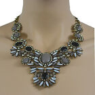 Womens Statement Diamante Detailed Floral Chain Necklace Pendant