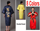 @Reversal Double-Sides Men's Robe Gown Embroidery Dragon Sleepwear M L XL XXL 3X