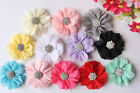12x DIY Chiffon Flowers Rhinestone Embellishments Craft for Headband Hair Clips