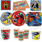 Spiderman Batman Superman Superhero Boys Party Tableware Plates Cups Napkins