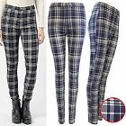 NEW WOMEN NAVY TARTAN CHECK STRETCH FIT JEAN TROUSERS LADIES JEGGINGS LOOK PANTS