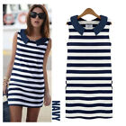 Women Lady Fashion Sleeveless Crew Neck Striped Casual Cotton Stretch Mini Dress