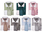 Men's Cotton Blend Plaid Design French Cuffs Dress Shirt with Tie & Handkerchief