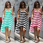 Lady Bohemian Neck Stripes Summer Beach Long Cocktail Maxi Dress Pleasantly Cool