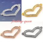 Side Ways Crystal Rhinestones Open Hollow Heart Bracelet Connector Charm Beads