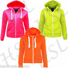 Womens PLAIN FLUORESCENT NEON HOODIE Zipper Active Bike Gear Fleece Bright New
