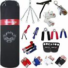 Martial Arts Punch bag Set Boxing Gear Kit Bag Gloves Wall Bracket Black Canvas