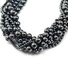 "Natural Hematite Round Beads 15"",pick your size"