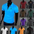 Men Casual T-Shirts Tops Tee V Neck Polo Slim Fit Short-sleeved T-shirt US XS-XL