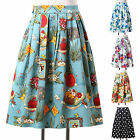 Vintage Hepburn Floral High Waist Pleated retro Midi Skirt Ball Gown Swing Skirt