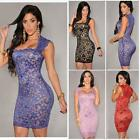 New Sexy Women Lace Nude Illusion Sleeveless Clubwear Bodycon Party Mini Dress