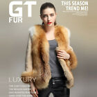 0285 New Women Genuine Real Red Silver Fox Fur Coat Jacket Trench Outwear Parka