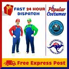 NEW Mens Super Mario Luigi Brothers Halloween Party Costume + Hat + Moustache