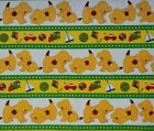 "Colorful puppy panel 2/3 yd & coordinating stripe 1 yd 100% cotton fabric x 44""w"