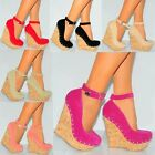 WOMENS CORK STUDS STUDDED WEDGED PLATFORMS COURT SHOES WEDGES HIGH HEELS SIZE