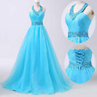 Blue Halter Long Formal Masquerade Ball Gowns Party Evening Bridal Prom Dresses