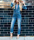 ZARA Pleated Denim Jumpsuit Blue Stonewashed Handmade Boilersuit New XS S M