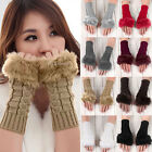New Women Warm Wrist Faux Rabbit Fur Fingerless Knitted Gloves Hand Warmer
