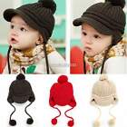 Hat Knitted Peaked Cap Baby Crochet Children Warm Toddler Ball Knit Gift N98B