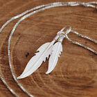 925 Sterling Silver 3D Pair of Angel Wing Feathers Pendant Chain Necklace w Box