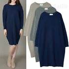 AnnaKastle Womens Crewneck Angora Wool Knit Dress Long Sweater size M - L
