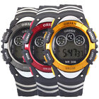 New Men's Boys' Rubber Band Sport WristWatch Backlight Alarm Date/Day Round Dial