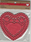 "U CHOOSE  Recollections RED HEART  WHITE & PINK Doily Embellishments 4""X4"""