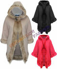NEW LADIES WOMENS FAUX FUR HOODED ITALIAN CARDIGAN WARM WINTER PONCHO CAPE 8-14