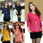 Chic Women Crewneck Lace Long Sleeve Knitwear Sweater Slim Pullover Jumper