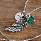 Sterling Silver Personalized Antiqued Angel Wing Pendant Necklace & Birthstones