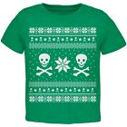 Skull & Crossbones Ugly Christmas Sweater Green Toddler T-Shirt Top
