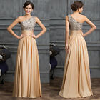 VTG One shoulder Sequins Adorned Ball Gown Evening Prom Party Bridesmaid Dresses