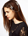 Women Full Crystal Silver Hair Clips Cuff Headdress Headband Head Band Chain New