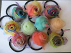 Women Multicolor Scrunchie Ponytail Holder Rose Silk Ribbon Hair Band Hair Rope