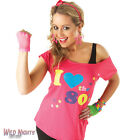 FANCY DRESS COSTUME ~ LADIES 1980's I LOVE THE 80'S RETRO TSHIRT TOP SIZE 8-18
