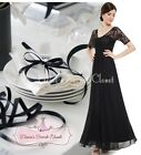 BNWT LYDIA Black Lace Empire Maxi Prom Evening Cruise Ballgown Dress UK 6 - 14