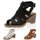 WOMENS MID CHUNKY HEEL LADIES CLEATED SOLE OPEN TOE STRAP SANDALS SHOES SIZE 3-8