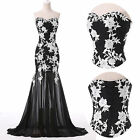 BLACK Long Prom Chiffon Lace Mermaid Vintage 50's Homecoming Party Evening Dress