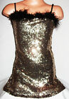 GIRLS BLACK FEATHER GOLD SEQUIN EVENING DISCO PARTY MINI DRESS/TOP