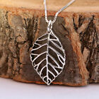 925 Sterling Silver 3D Antiqued Open Detailed Leaf Pendant Chain Necklace w Box