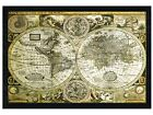New Black Wooden Framed Historical World Map Poster