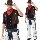 Mens Cowboy Wild West Western Gun Fighter Adult Fancy Dress Costume Outfit