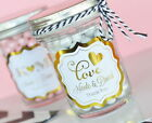24 Metallic Gold or Silver Foil Personalized Wedding Mini Mason Jars Party Favor