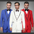 Red Blue White Statement Modern Fit 1 Button Solid Tuxedo Suit w/ Vest VENETIAN2