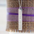 SOLID STERLING SILVER PERSONALISED INGOT STYLE RECTANGLE BAR TAG PENDANT GIFT