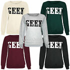 NEWLADIES WOMENS GEEK PRINT TOP SWEATSHIRT JUMPER LOOK SLEEVED FLEECE TOPS SHOP