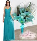 TATUM Teal Corsage Chiffon Maxi Prom Evening Bridesmaid Dress UK Sizes 8 -18