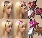 PACK OF 6 SEQUIN MOTIF ELASTIC BANDEAUX, HEADBAND, ROSE, STAR, HAIR ACCESSORY