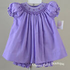 NWT Petit Ami Purple Lavender Smocked Bishop Dress 12 18 24 Months Girls Bloomer