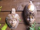 Pair Of Stunning Egyptian Faces, Wall Hanging Plaques Garden Ornaments Gift